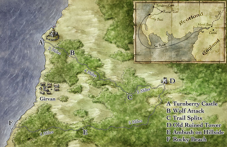 Fantasy map for the pathfinder adventure Elusive Foe by Interaction Point Games