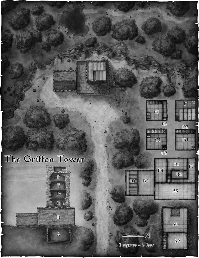 Fantasy battlemap from the Pathfinder adventure Tales of the Old Margreve by Open Design
