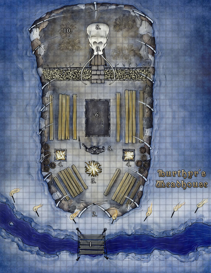 Meadhall Fantasy Map for Kobold Quarterly 16 mini-adventure