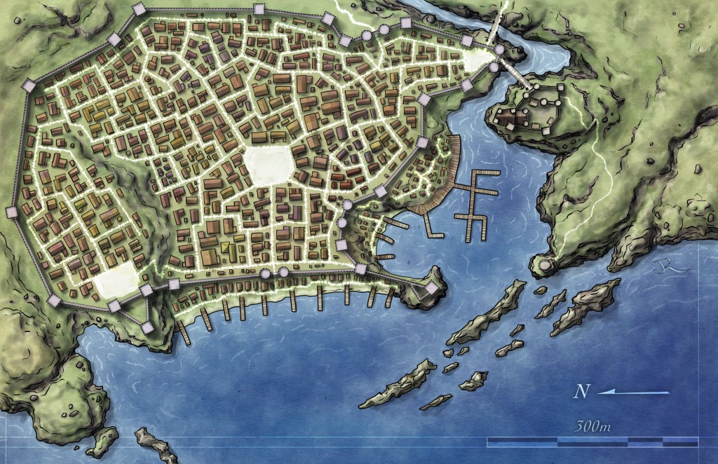 Free map of fantasy city for pathfinder and 4E d&d