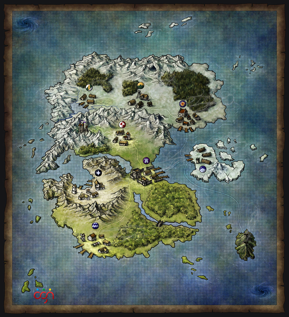 OGN Fantasy MMO World Map for Dark Warriors RPG
