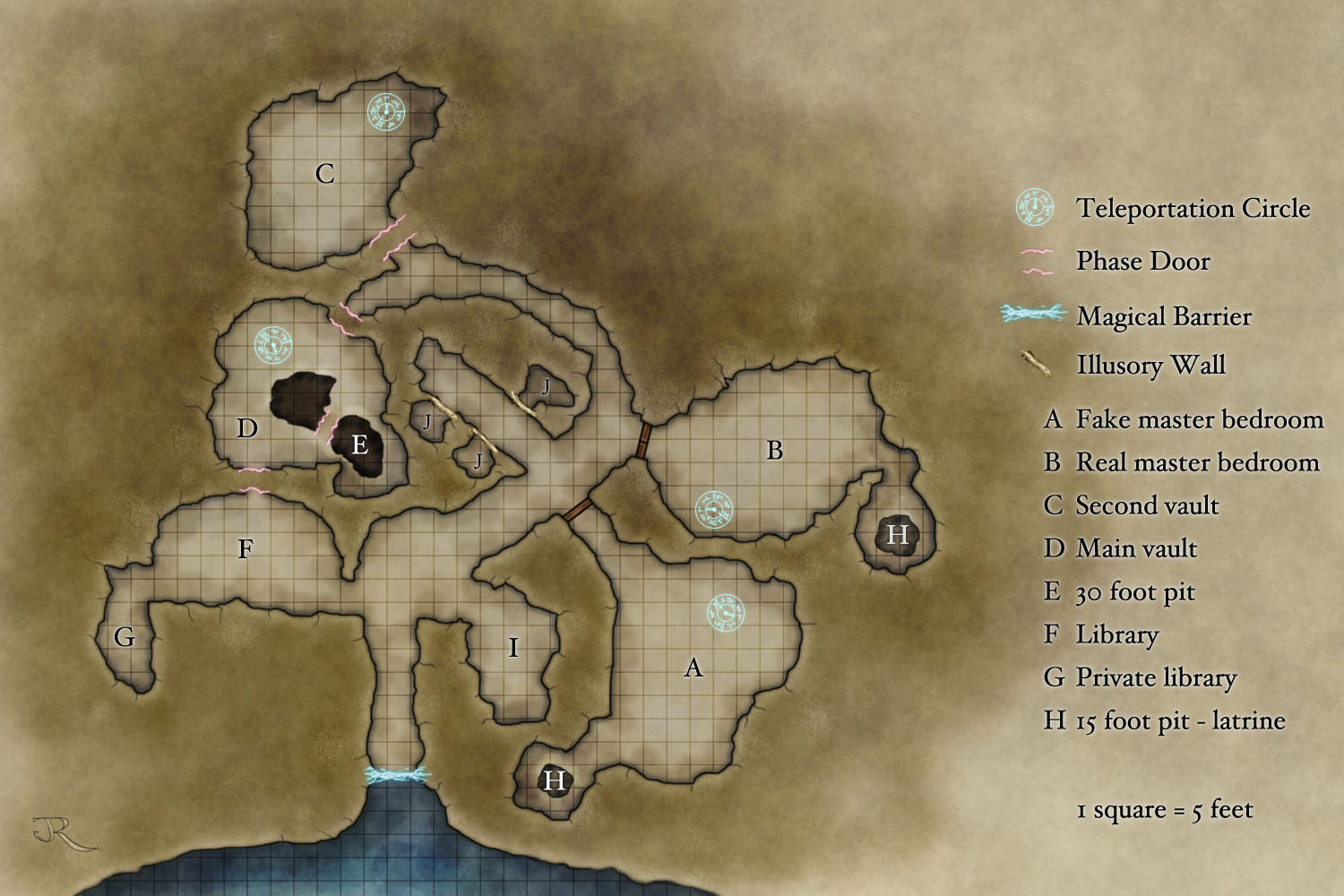 A free fantasy map of an underground lair