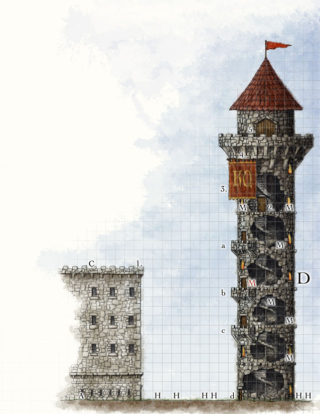 Side view fantasy battlemap of a castle tower