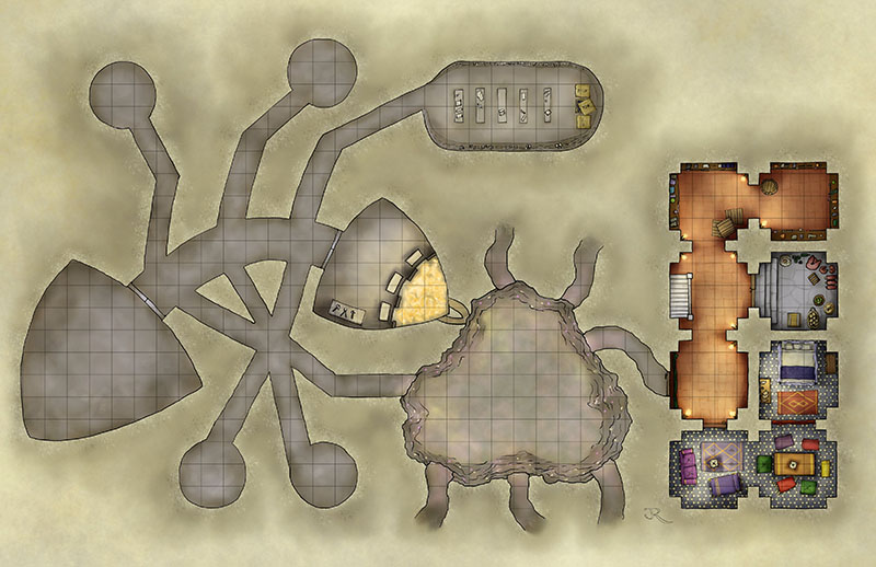 Arabian nights Inn fantasy battlemap for dungeons and dragons and pathfinder games.