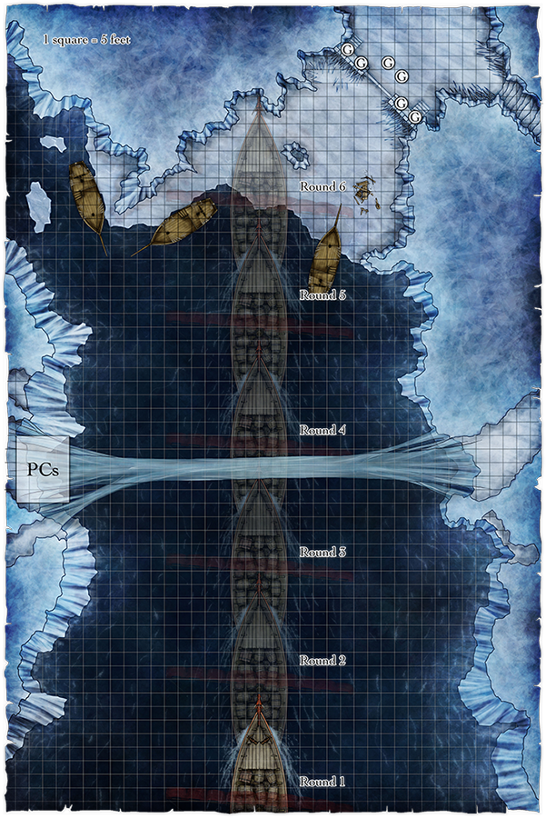 Ice Ships and Ice Bridges map for fantasy map pack