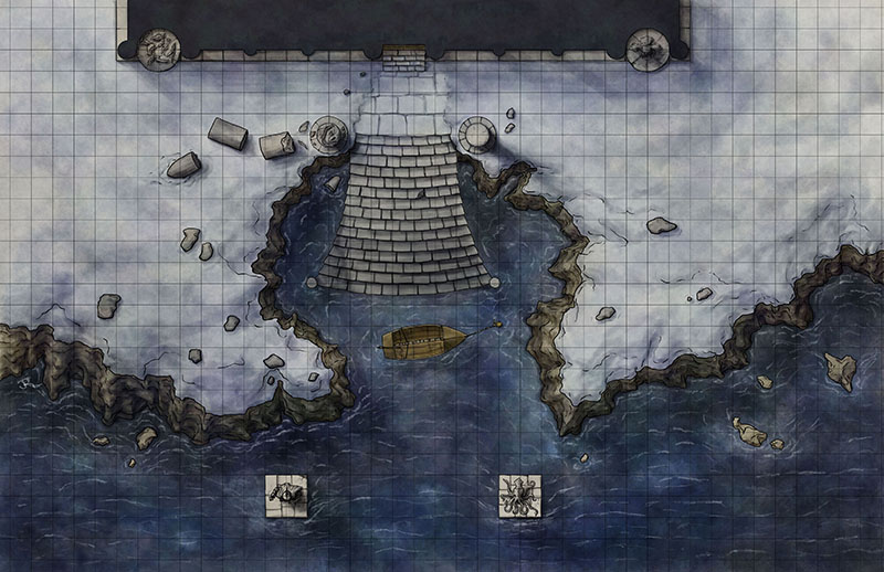 A fantasy battlemap of the temple approach from Illfrost Bondage for 4e d&amp;d for Illusionary Press