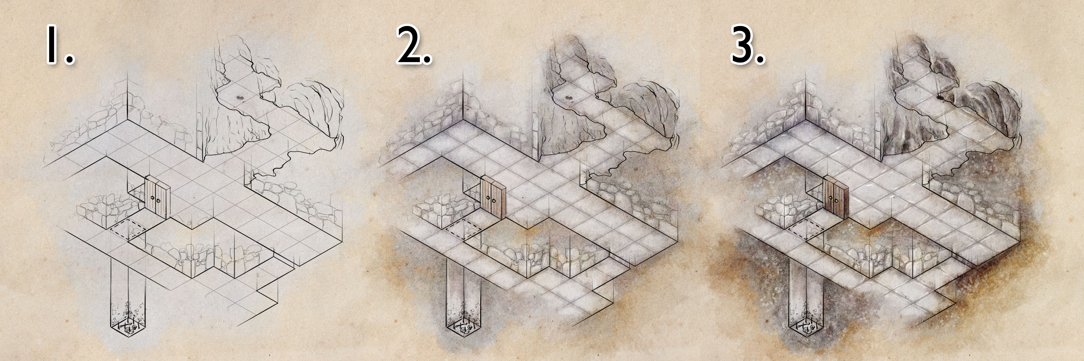 A short tutorial on how to draw an isometric dungeon map for d&d