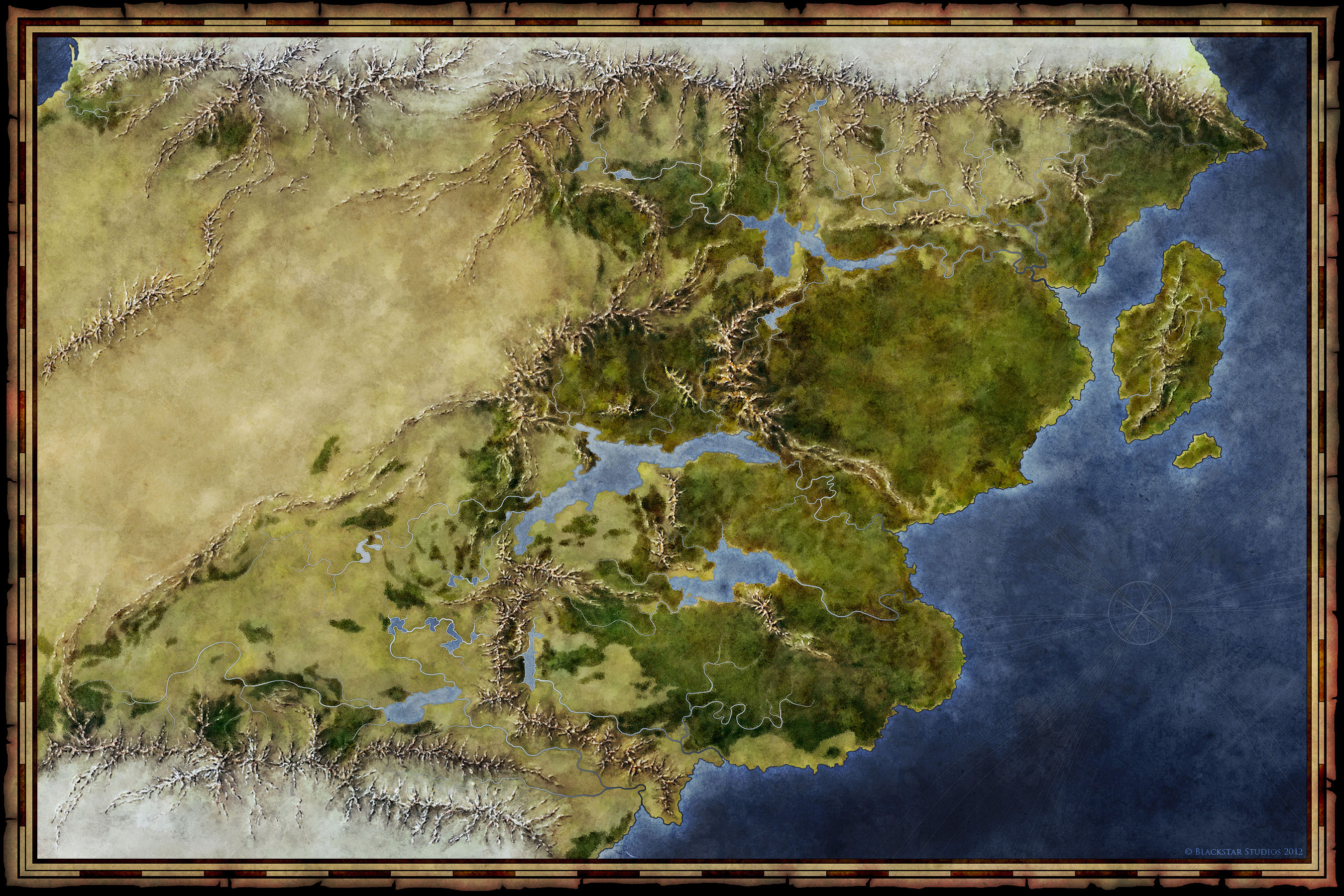 world map of the Saemmyr fantasy setting for Blackstar Studios