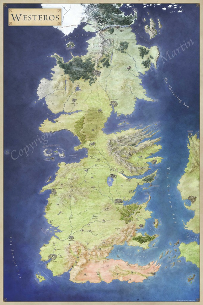 photo about Free Printable Map of Westeros titled The Lands of Ice and Fireplace - the maps of Match of Thrones