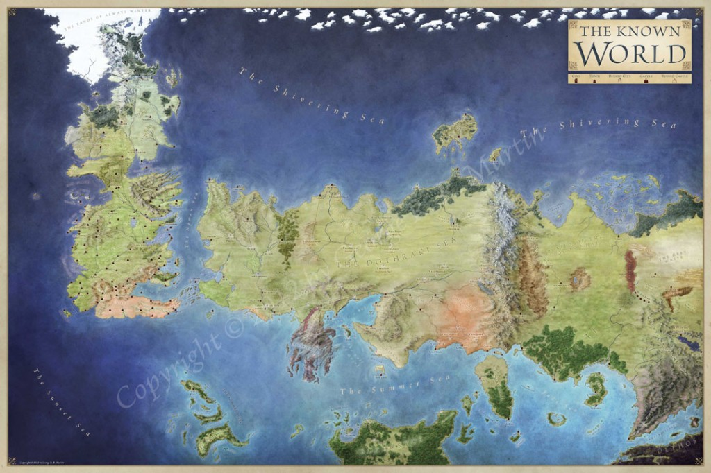 Official World Map of A Song of Ice and Fire   Fantastic Maps