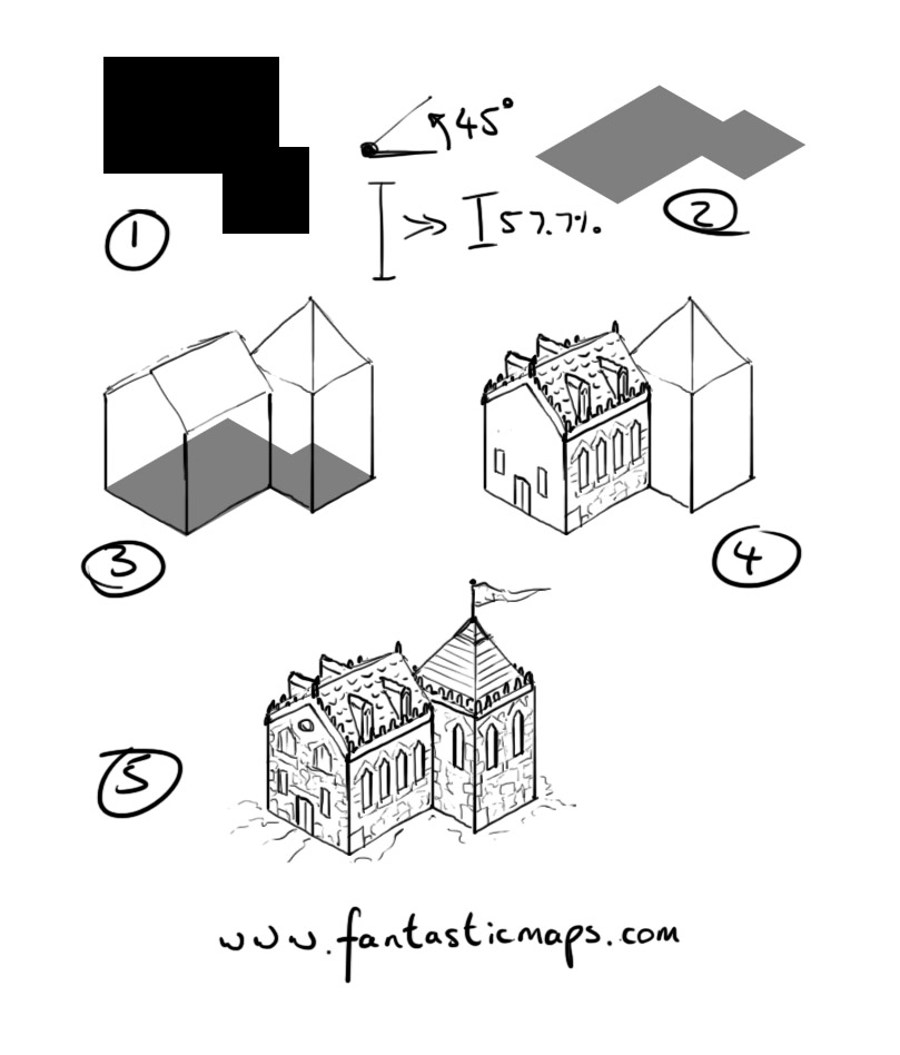 How to draw an isometric house fantastic maps House map drawing