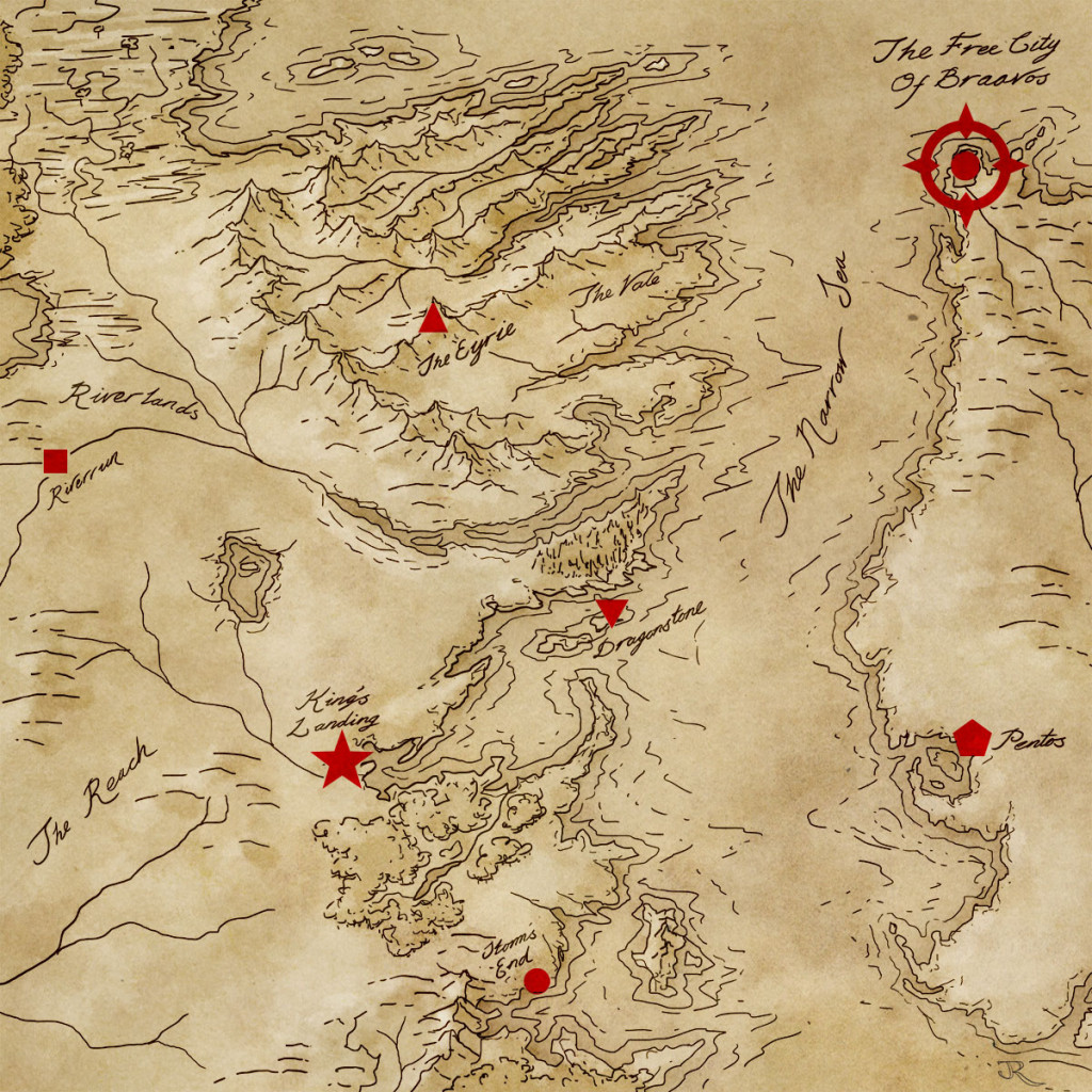 A map to show where braavos is